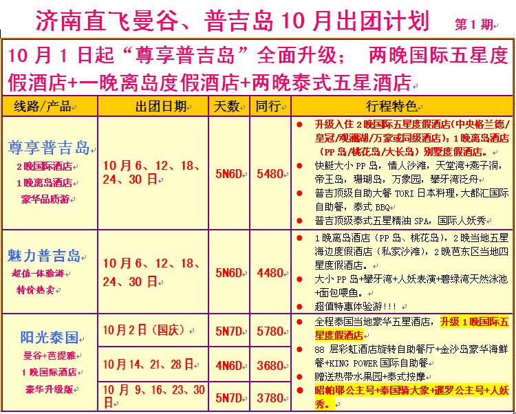 2014年-10月份泰国,普吉岛计划价格表